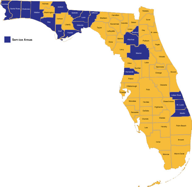 Map of Participating Florida Counties